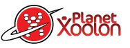 Planet Xoolon logo; man inside planet